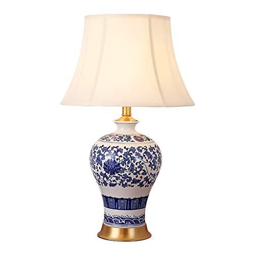 ZWMG Lámparas de Mesa Lámpara de Mesa de cerámica, Tradicional for el Dormitorio, Sala de Estar, Oficina, Azul/Blanco (Color : Power Switch Button)