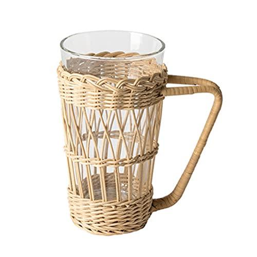 Delisouls Taza hecha a mano de ratán, taza de agua tejida de ratán, mango retro de ratán, soporte de vidrio de la manga de la taza para el hogar bebidas frías y calientes