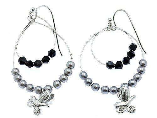 beyoutifulthings 1 par de pendientes de mujer con colgante de pájaro, plata y piedra negra, acero quirúrgico, longitud: 3,8 cm