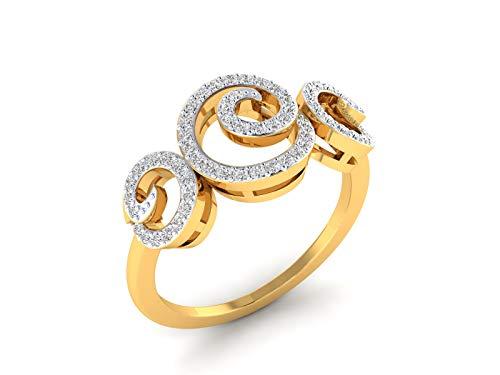 VVS Certificado Floral Brillante Diseño 18K Oro Blanco/Oro Amarillo/Oro Rosa Con 0.27 quilates Forma Redondo Anillo Diamante Natural Para Mujer