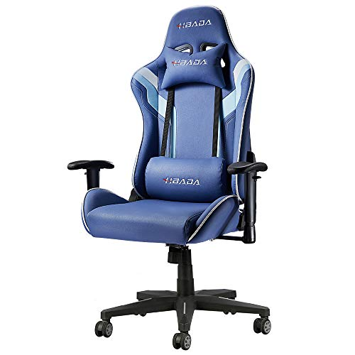 Hbada Gaming Chair Ergonomic Racing Chair High-Back Computer Chair with Height Adjustment Headrest and Lumbar Support E-Sports Swivel Chair, Blue