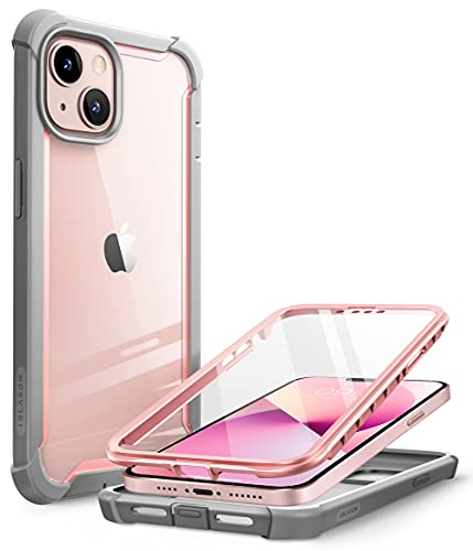 i-Blason Ares Case for iPhone 13 6.1 inch (2021 Release), Dual Layer Rugged Clear Bumper Case with Built-in Screen Protector(Peach)
