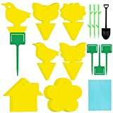 Elcoho 36 Pack Fly Trap Yellow Sticky Dual-sided Fly Catcher Disposable Sticky Board Includes 6 Style Supporting Poles and 40 PCS Twist Ties for Mosquitos Fungus Gnats, Flying Aphid, Whiteflies