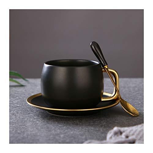 SHUTING2020 Tazas De Café Taza de té de cerámica Taza de café de gradiente de Oro de 9,5 onzas de café Copas/té for Oficina y Hogar Tazas De Desayuno (Color : Matt Black)