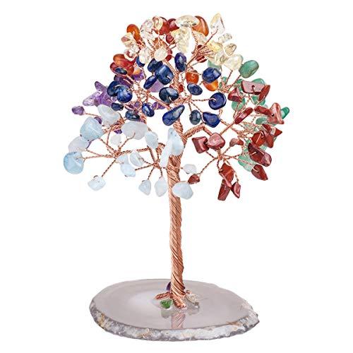 mookaitedecor 7 Chakra-Kristallbaum-Trommelsteine, Geoden-Achat-Scheiben, baum-Dekoration für Reichtum & Glück, 12,7 cm - 14 cm