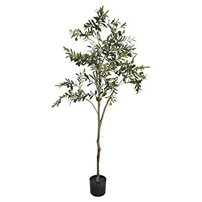 Binnny Flower 6 FT Artificial Silk Tree Olive Plant UV Resistant Fake Plant for Home House Indoor Outdoor Decor (6 ft)