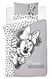 DP Disney Baby Minnie Mouse - Biancheria da letto 100 x 135 cm, cuscino 40 x 60 cm, 100% cotone (grigio)
