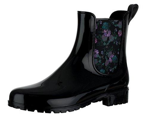 Brandsseller Damen Kurzschaft Gummi Stiefelette Flower Chelsea Boots Gummistiefel Blockabsatz Profilsohle Made in Italy Farbe: Schwarz - Größe: 37