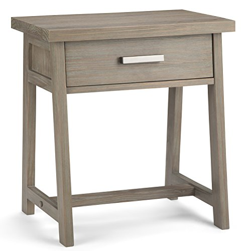 Simpli Home Sawhorse Solid Wood 24 inch Wide Modern Industrial Bedside Nightstand Table in Distressed Grey