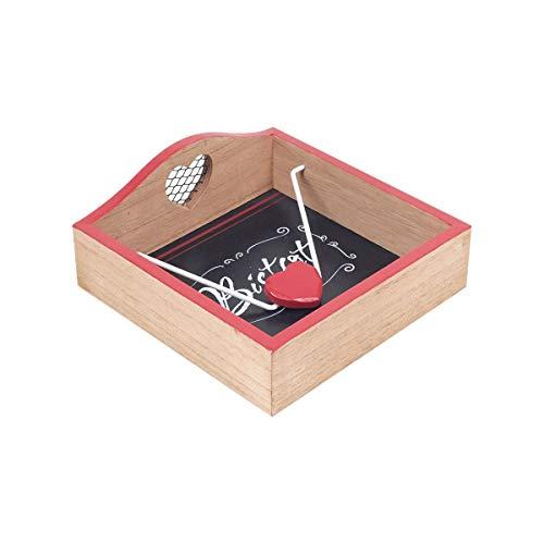 CAPRILO. Servilletero Decorativo de Madera Bistrot Corazón. Cajas Multiusos. Menaje de Cocina. Regalos Originales. Decoración Hogar. 18,50 x 18,50 x 7,50 cm.