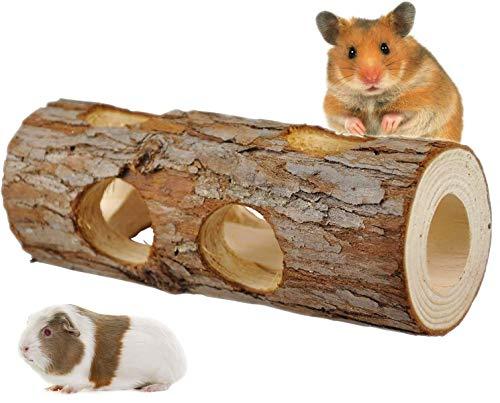 GZGZADMC - Tubo de madera natural para mascar, tubo de hámster de madera, juguete para masticar, hámster enano, rata, ratones, chinchilla, conejillo de indias, ardilla para animales pequeños