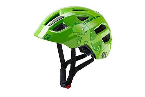 RennMaxe : Cratoni maxster - Dino Green Glossy - 46-51 cm - inkl Sicherheitsband - Fahrradhelm Skaterhelm MTB BMX Kinder Jugendliche