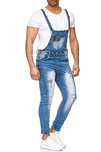 EGOMAXX Herren Latzjeans Hose Slim Fit Latzhose Destroyed Used H2626, Größe Jeans:W36, Farben:Blau-2