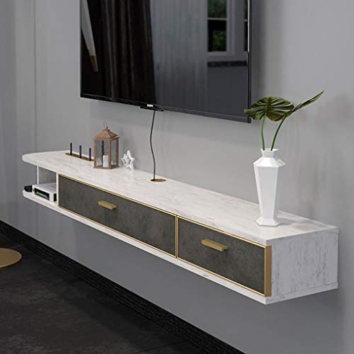 Floating Shelf Hanging Front TV Stand Floating TV Console Wall Mounted Media Console with 2 Drawers and Open Storage Shelf Entertainment Storage Cabinet TV Cabinet