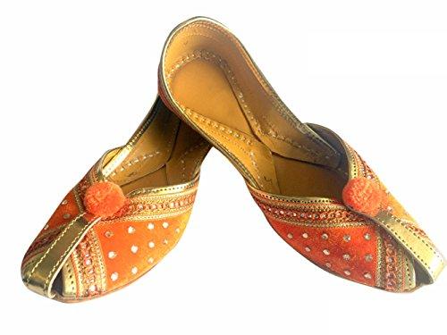 Step n Style Damen Samt & Leder Khussa Schuhe Punjabi Jutti indische traditionelle Ballerina, Orange - Orange - Größe: 40.5 EU