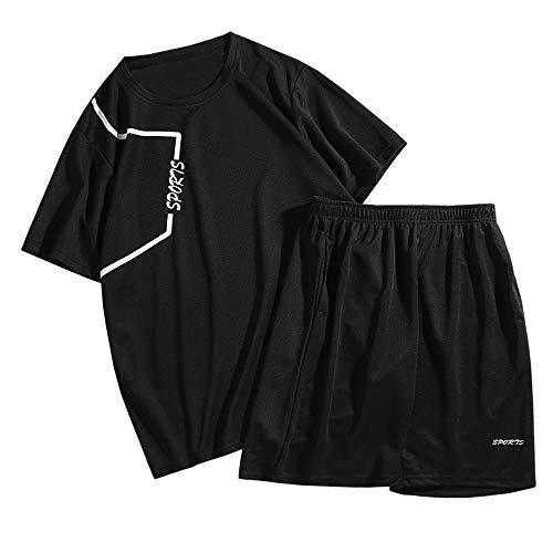 TANERDD Basketball-Bekleidung Anzug Tops und Shorts Jungen Sommer Männer Beiläufig Anzug Training Sportbekleidung T-Shirt+ Hosen,Schwarz,XXXXL