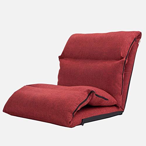 LJFYXZ Canapé Paresseux Chaise Réglage à 5 Vitesses Canapé arrière épais Coton et Lin Facile à enlever et à Laver Chambre dortoir Tapis Multicolore en Option (Couleur : Red)