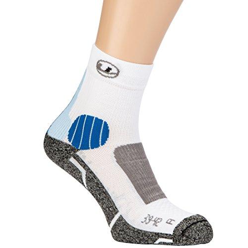 Ultrasport Advanced unisex loopsokken, enkelhoge loopsokken, rechts/links voetbed, Coolmax uitrusting, enkelbescherming, achille-protectoren, voering in de teen, wrijvingsvrije lintoe naad