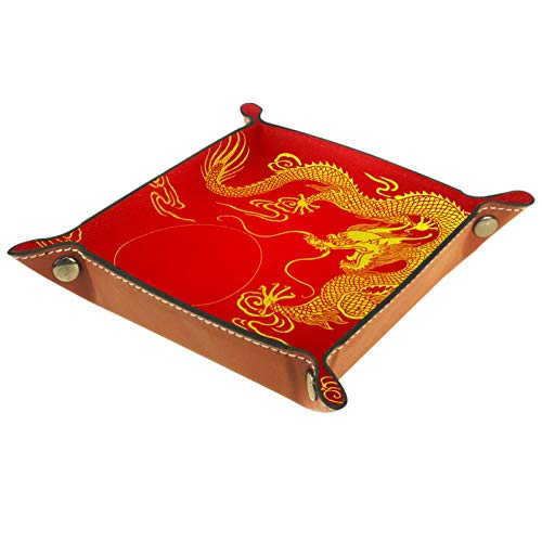 rodde Bandeja de Valet Cuero para Hombres - Dragon King Japón - Caja de Almacenamiento Escritorio o Aparador Organizador, Captura para Llaves,Teléfono,Billetera