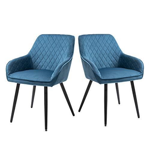 Sigtua, 2 TLG Polsterstuhl umgebene Design-Esszimmerstühle aus Samt Küchenstühle Sessel Lehnstühle Besucherstühle Schmink Stühle weich Kissen Sitz und Rücken Wohnzimmerstuhl mit Lehne Blau