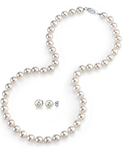 7-8mm Freshwater Cultured Pearl Necklace Set for Women Includes Stud Earrings with 14K Gold in AAAA Quality - THE PEARL SOURCE