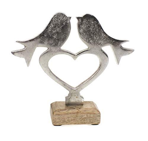 Deko Figur Vögel auf Herz 17 cm, Mango Holz Sockel massiv natur braun Metall Alu silber, Vögelchen Aufsteller Frühling Sommer