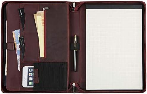 Vintage Leather Portfolio Padfolio Folder Handmade Case Briefcase Business Organizer for Office product image