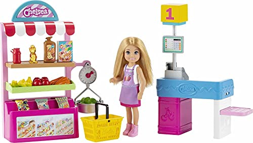 Barbie Chelsea Supermercado Muñeca con tienda de juguete y accesorios, para niñas y niños +3 años (Mattel GTN67)