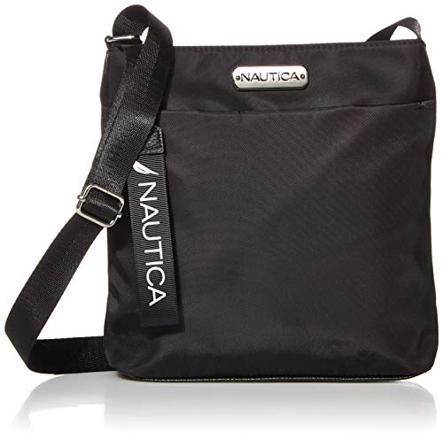Nautica Diver Nylon Small Womens Crossbody Bag Purse with Adjustable Shoulder Strap, Black