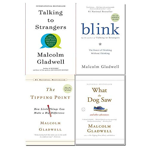 Malcolm Gladwell 4 Books Collection Set (Talking to Strangers, Blink, The Tipping Point, What the Dog Saw)