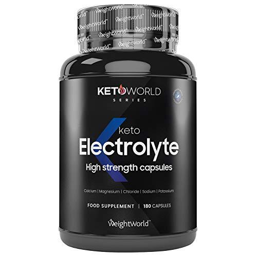 Keto Electrolytes Kapseln - Kalzium, Magnesium, Kalium & Natrium - 180 vegane Kapseln - Elektrolyte Sport - Mineralstoffe für ketogene Ernährung - Zuckerfrei & Geprüfte Zutaten - Von WeightWorld
