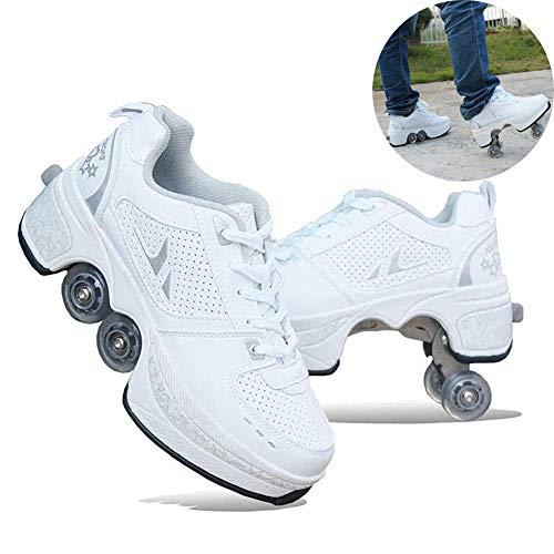 HealHeatersR Verstelbare Quad Roller Laarzen Vervorming Roller Schoenen Schaatsen Volwassenen Dubbele Rij Vervormd Wiel Automatische Wandelschoenen Onzichtbare Pulley Schoenen Skates