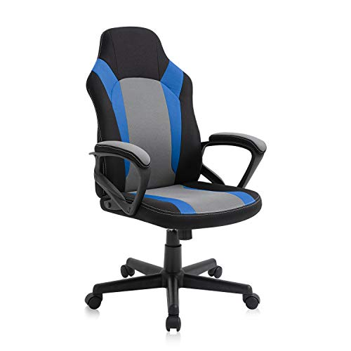 SEATZONE Ergonomic Gaming Chair,Computer Chair with Wheels, Game Desk Chairs Height Adjustable Office Chair for Adults, Teens Black Blue