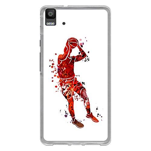 Funda Transparente para [ BQ Aquaris E5 4G ], Carcasa de Silicona Flexible TPU, diseño: Jugador de Baloncesto Watercolor