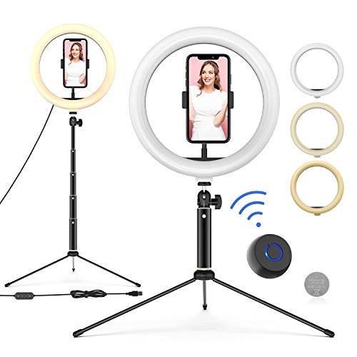 """WONEW Anillo de Luz LED 10"""" de Escritorio,3 Colores 10 Brillos con Regulables, Control Remoto, USB, Trípode con Soporte Giratorio de Teléfono para Selfie/ Maquillaje/ Youtube/ TIK Tok"""