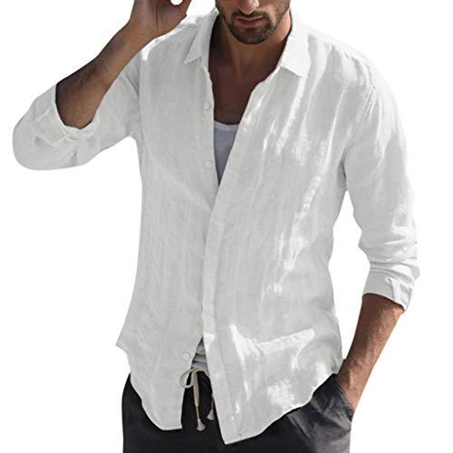 Yowablo Chemise à Manches Longues en Lin pour Homme Coupe Classique Chemisier T-Shirts Baggy Coton Mélangé Poche Solide À Rétro Tops (XL,Blanc)