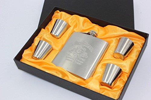 7oz inox Portable Hip Flask Gift Box Set comprend 4 tasses et une boite cadeau appropriée pour extérieur Noël idées cadeaux pour les ados