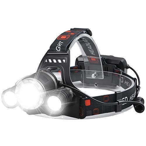 Faros delanteros recargables para adultos, USB recargable más brillante 6000 lúmenes altos LED linterna de trabajo 4 modos lámpara de cabeza impermeable para acampar, correr, pesca, senderismo al aire libre