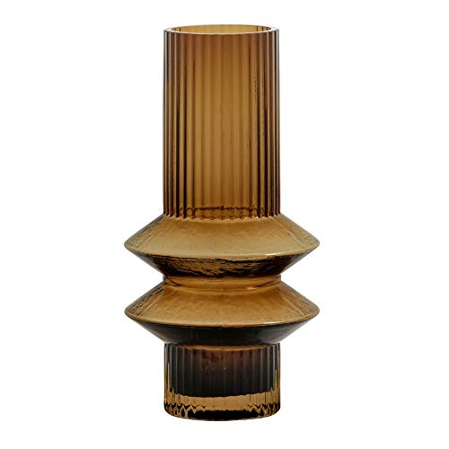 Nordal Vase Rilla S Amber H 21 cm Rillenmuster Amber Braun Handarbeit Glas