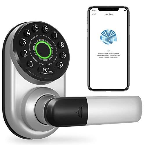 Fingerprint Smart Door Lock, NGTeco Keyless Entry Door Lock with Handle, Digital Electronic Bluetooth Door Lock with Keypad and Passcode, Wi-Fi Smart Lock Front Door Works with Alexa Google Assistant