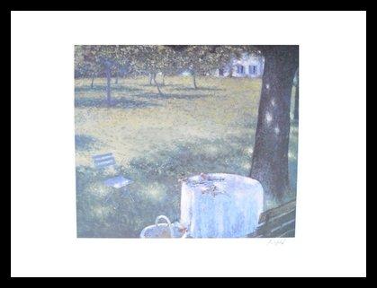 Lutz Münzfeld Köln - Blaues Fenster (handsigniert) Poster Kunstdruck Bild im Alu Rahmen in schwarz 80x60cm