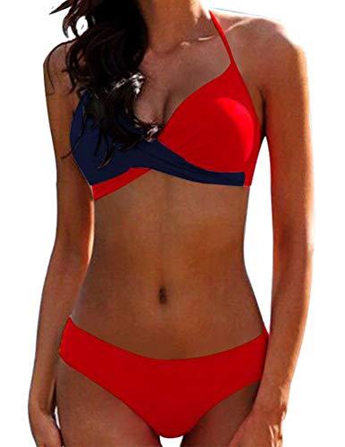 JFAN Donna Costume da Bagno Push Up Imbottito Reggiseno Bikini Donna Due Pezzi Swimwear Abiti da Spiaggia (Rosso, M)