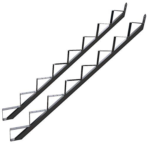 8 Stufen Treppenrahmen Stahl-Treppenwange Treppenholm Geschosshöhe 148cm / RAL 7016 Anthrazit-Grau/Ideal für den Einsatz im Innen und Außenbereich