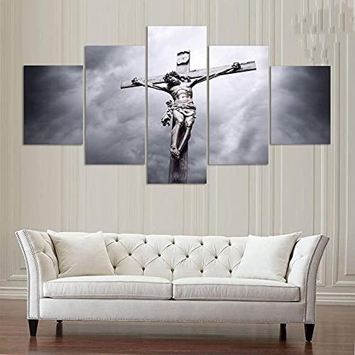 CCAR Cuadros en Lienzo 5 Pieza Arte Moderno de Pared Jesús 5 lienzos Decorativos con impresión, Cuadros Modernos Salon 5 Piezas Enmarcado, 5 Pieza 150X80 Cm