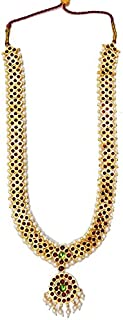 India4you Imination Gold Polished Brass with Kemp & Pearls Bharatanatyam Dance Temple Jewelry Long Necklace