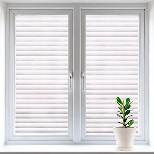 Fensterfolie Selbsthaftend Blickdicht,Statische Folie ohne Klebstoff Fenster Anti-UV Bad Duschwand Streifen Jalousette Für Zuhause Badzimmer oder Büro (44*200cm)