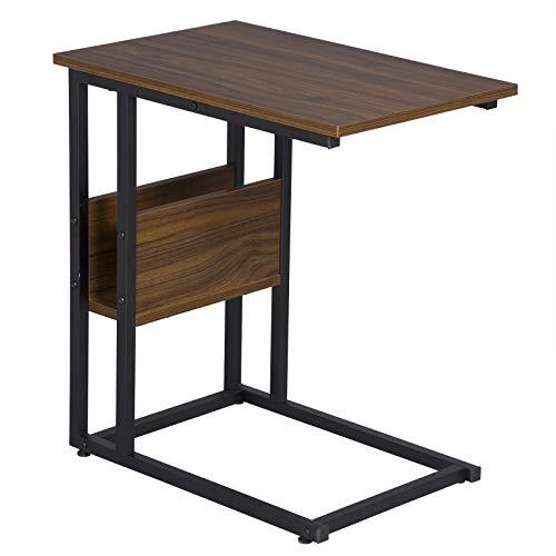 WOLTU Tavolino Laterale da Divano Piccolo Tavolo da caffè per Salotto in MDF e Ferro Colore Faggio Scuro TS79dc