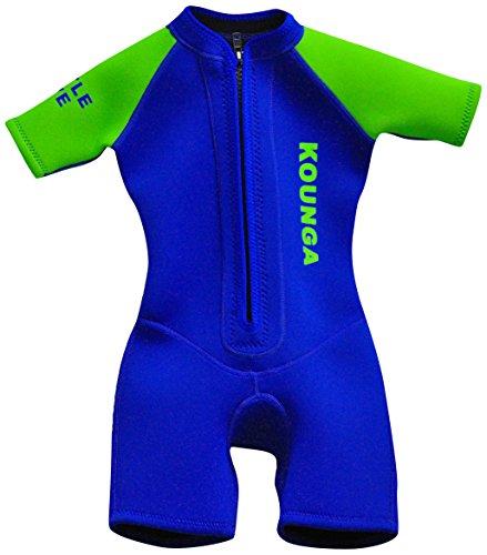 Kounga Little Diver Traje de Neopreno Corto para Niño, Unisex niños, Azul/Verde, 10