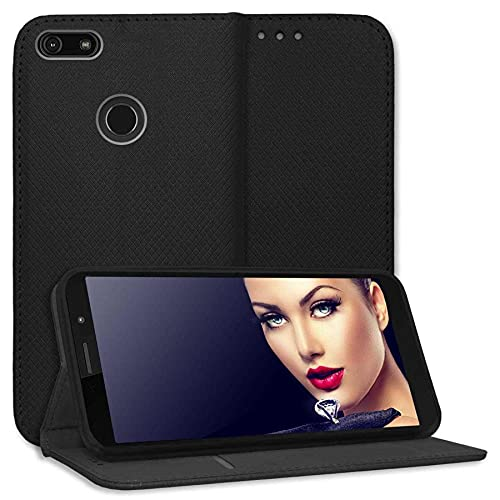 mtb more energy® Funda Bookstyle para Motorola Moto E6 Play (5.5'') - Negro - Cuero sintético - Carcasa Estuche Wallet Case Cover