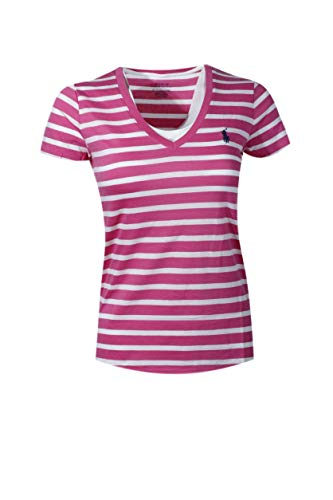 Polo Ralph Lauren Womens V-Neck Jersey T-Shirt (Medium, Pink/White Stripe)